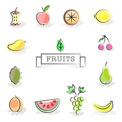 Collection of stylized fruit icons. Vector illustration in soft