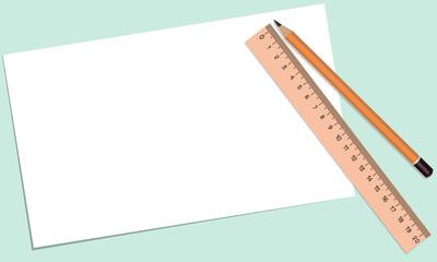 бумага, карандаш, линейка
