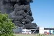 Leinwanddruck Bild - Großbrand im Industriegebiet
