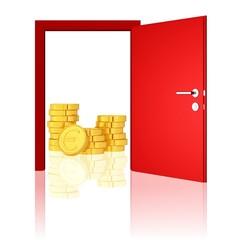 verborgenes Geld hinter einer roten Tür