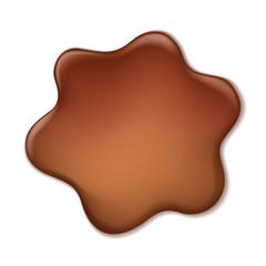 Chocolate blotch isolated on white background.
