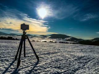 Camera shooting mountin landscape