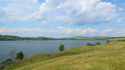 Beautiful landscape with lake between hills - South ural, Russia