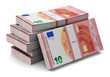 Stacks of new 10 Euro banknotes