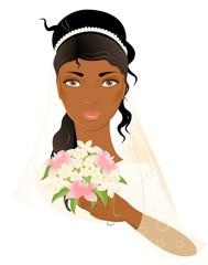 Portrait of beautiful african-american bride