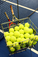 Close up of tennis balls in a basket