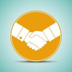 handshake silhouette on the round label