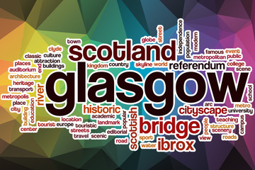 Glasgow word cloud with abstract background