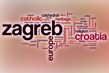 Zagreb word cloud with abstract background