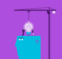 Vector concept illustration of light bulb and gift