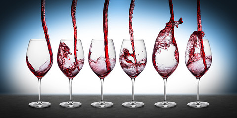 red wine pouring row