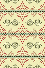 Seamless pattern with abstract symbols of mountains and rivers