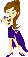 young pretty girl singing