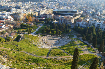 top view of theater from Delphi in the acropolis of athens