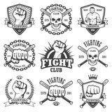 Set of cool fighting club emblems.