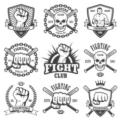 Set of cool fighting club emblems.