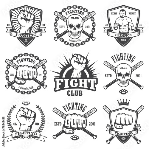 Fototapeta Set of cool fighting club emblems.