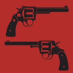 2 revolvers vector illustration, eps10, easy to edit