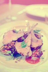Grilled rack of lamb with vegetables, toned