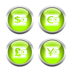Set of colored buttons for web, purses currency.