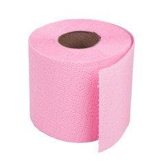Roll of pink toilet paper on white background