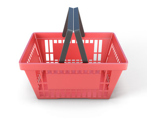 Red plastic shopping baskets for food