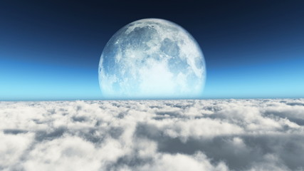 fly over clouds and big moon 4k