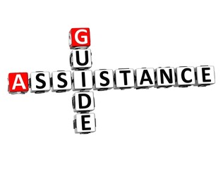 3D Crossword Assistance Guide on white background