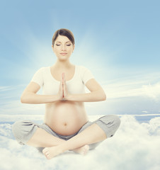 Pregnant Woman Yoga Meditation. Pregnancy Health Wellness and Re