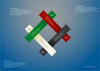 Infographic consists of four color ribbons