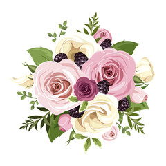 Pink and white roses and lisianthus flowers. Vector illustration