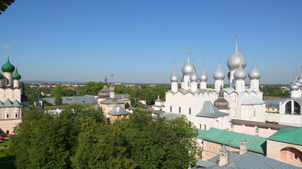 Panorama of Kremlin in ancient town Rostov the Great, Russia. In