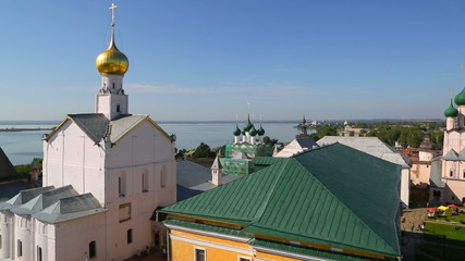 Panorama of Kremlin in ancient town Rostov the Great and Nero La