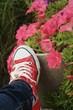 Red shoes with a background of flowers.