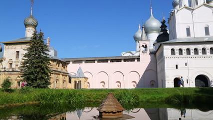 Reflection of Church of the Resurrection in Rostov Kremlin. Rost