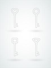 Set: minimal keys. Line icons