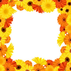 Frame with orange and yellow gerbera flowers. Vector.