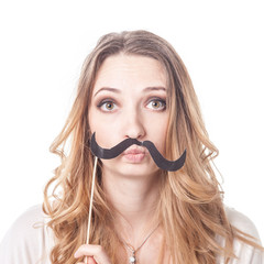 Girl with mustache playing various emotions