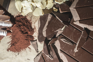 Pieces of cocoa butter and chocolate