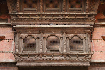 Beautiful ancient window of Hanuman Dhoka Durbar