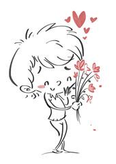 niño enamorado con flores