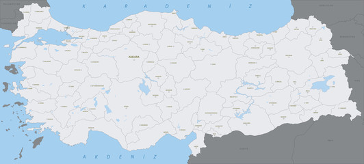Turkey, highly detailed map