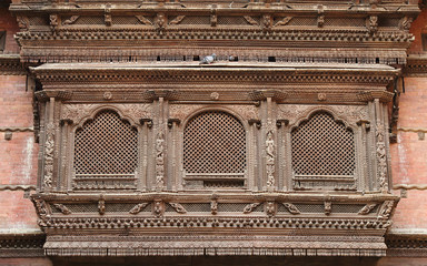 Intricate design on ancient window of Hanuman Dhoka Durbar