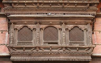 Intricate design on ancient window of Hanuman Dhoka Durbar