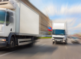 trucks go on city street