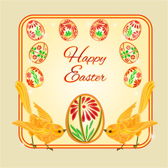 Birds and easter eggs vector