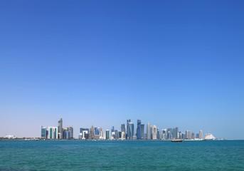 Doha skyline with modern highrise buildings