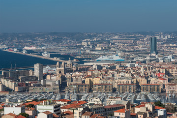 Bird view of the city Marseille, France