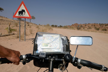 Long distance cycling in the Namib, Namibia