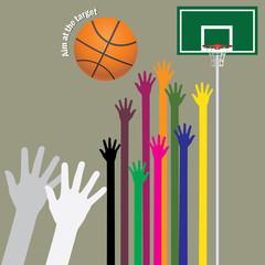 aim basketball to target